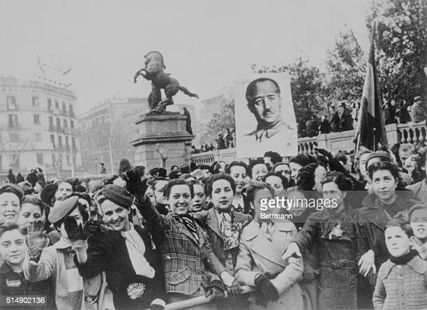 Spanish Civil War Barcelona populace greets Franco troops after city's successful siege by rebels