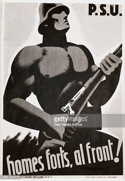 Spanish Civil War propaganda poster about 1936 A photograph of a propaganda poster from the Spanish Civil War taken by Tomlin for the Daily Herald...