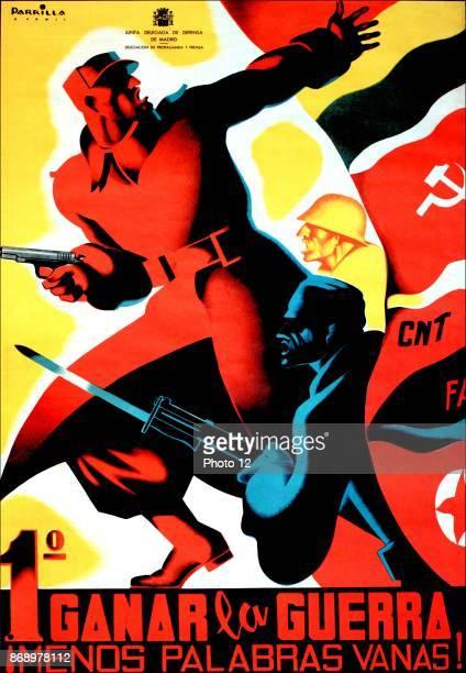 Spanish Civil War Republican Communist propaganda poster '1 Ganar la Guerra 'First Task is to win the War'