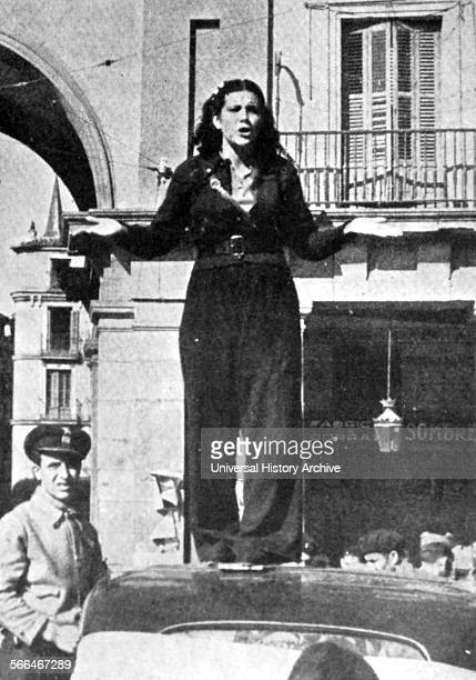 Spanish Civil War Republican militia female guard addressing a crowd in Madrid 1936