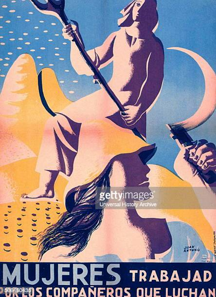 Spanish Civil War republican propaganda poster depicting women farm labourers