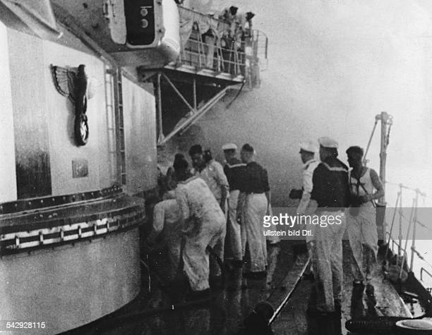 Spanish Civil War, the German battleship 'Deutschland' after an air attack by the Republicans, scene on board shortly after the attack- Photographer:...