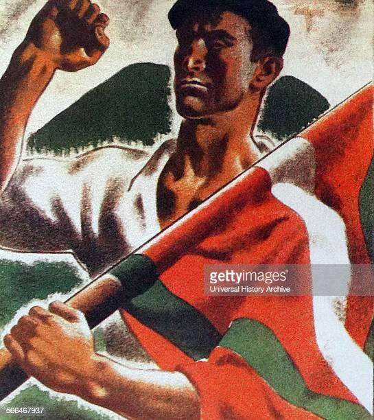 Spanish Civil War Valencia en homenaje a Euzkadi Basque propaganda poster during the Spanish Civil War
