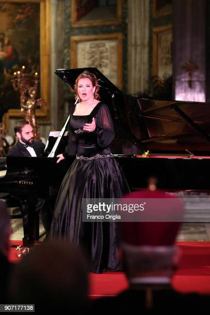 Spanish classical and crossover soprano Ainhoa Arteta performs during the inauguration of the new lighting of the papal Basilica of St Mary Major on...