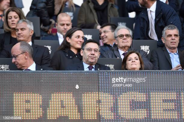 Spanish club's president Josep Maria Bartomeu attends the Spanish league football match FC Barcelona against SD Eibar at the Camp Nou stadium in...