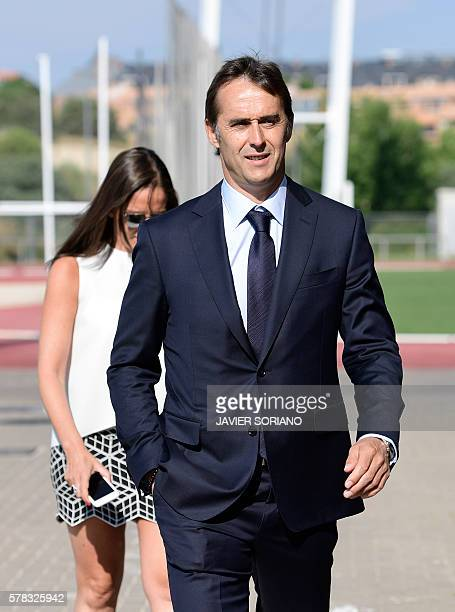 Spanish coach Julen Lopetegui arrives to give a press conference after his appointment as new manager of the Spanish national football team in Madrid...