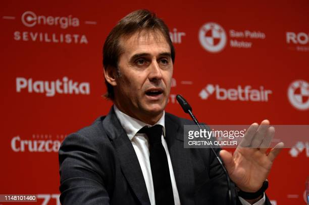 Spanish coach Julen Lopetegui holds a press conference during his presentation as new head coach of Sevilla FC at the Ramon Sanchez Pizjuan stadium...
