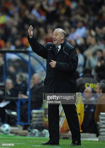 Spanish coach Vicente del Bosque coaches his team during the International friendly match between Argentina and Spain at the Vicente Calderon stadium...