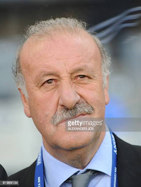 Spanish coach Vicente del Bosque is pictured during the Fifa Confederations Cup football match Spain vs Iraq on June 17 2009 at the Free State...