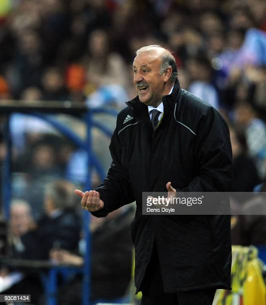 Spanish coach Vicente del Bosque urges on his team during the International friendly match between Argentina and Spain at the Vicente Calderon...