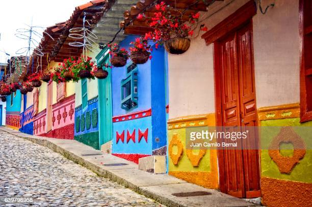 spanish colonial architecture in colombia - south america stock photos and pictures