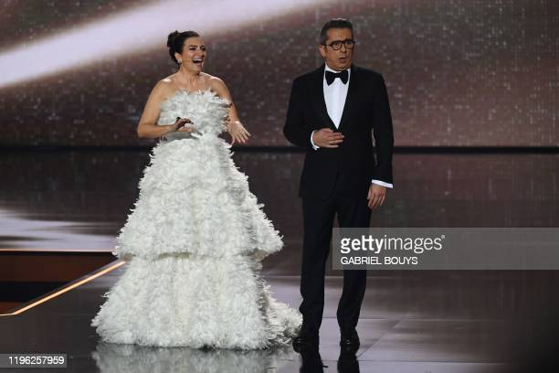 Spanish comedian Silvia Abril and Spanish TV host and comedian Andreu Buenafuente present the 34rd Goya awards ceremony in Malaga on January 25 2020