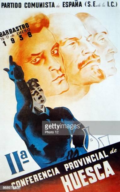 Spanish Communist party propaganda poster during the Spanish Civil War