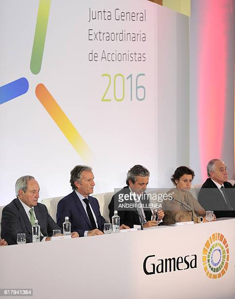 Spanish company Gamesa's chairman Ignacio Martin speaks during an extraordinary general meeting of Gamesa shareholders to decide on a fusion with...