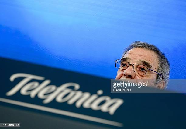 Spanish company Telefonica chairman and CEO Cesar Alierta gives a press conference to announce the company's year results in Madrid on February 25...