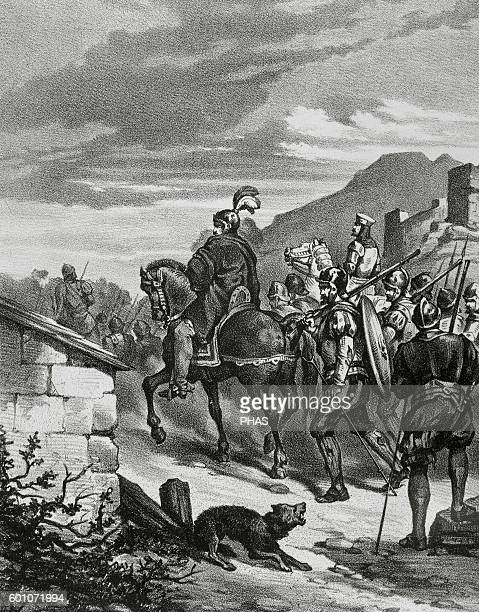 Spanish conquest of the Inca Empire Expedition of Francisco Pizarro into Peru during his third voyage to the Americas 15311532 Engraving 1875