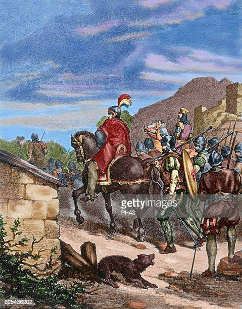 Spanish conquest of the Inca Empire Expedition of Francisco Pizarro into Peru during his third voyage to the Americas 15311532 Engraving 1875 Colored