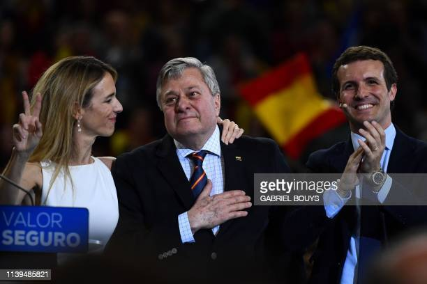 Spanish conservative People's Party leader Pablo Casado stands with PP candidate in Catalonia Cayetana Alvarez de Toledo and Leopoldo Lopez Sr father...