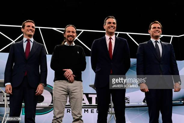 Spanish conservative Popular Party leader Pablo Casado farleft Podemos party leader Pablo Iglesias Prime Minister and PSOE candidate Pedro Sanchez...