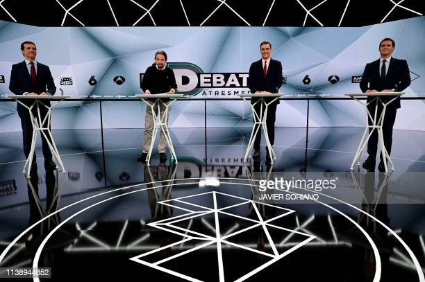 Spanish conservative Popular Party leader Pablo Casado farleft Podemos party leader Pablo Iglesias Prime Minister and PSOE candidate Pedro Sanchez...