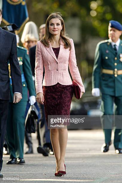 Spanish Crown Prince Felipe and his wife Princess Letizia during the National Day military parade in Madrid Spain October 12 2013 The Princes have...