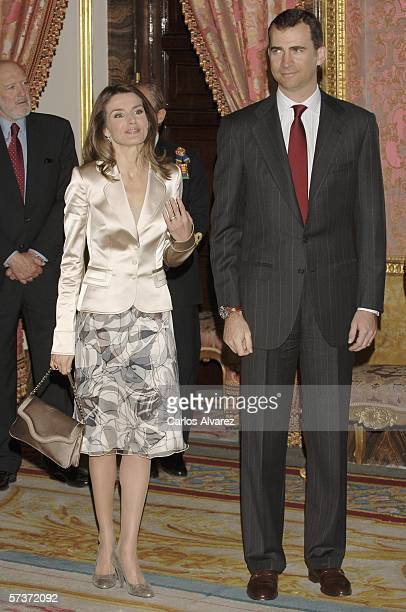 Spanish Crown Prince Felipe and Princess Letizia receive Spanish writers on the eve of the Cervantes Literary Awards Ceremony at the Royal Palace...