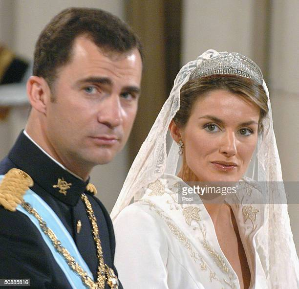 Spanish Crown Prince Felipe de Bourbon during the ceremony as he will marry former journalist Letizia Ortiz at the Almudena cathedral on May 22 2004...