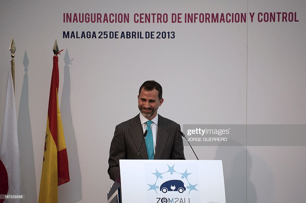 Spanish Crown Prince Felipe delivers a speech during the inauguration of the information and control center of the project 'Zem2All' at the Automobile museum in Malaga on April 25, 2013. Zem2All is a pilot project, carried out alongside the Japanese government, designed to estimate usage by drivers of electric vehicles in Malaga and provide an in-depth study of the impact of these vehicles.