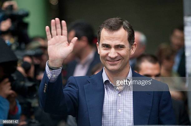 Spanish crown Prince Felipe leaves the public hospital in Barcelona on May 9 2010 after he visited Spain's King Juan Carlos I Spain's King Juan...