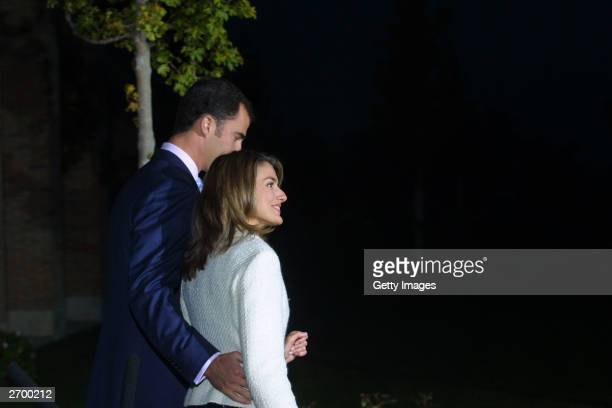 Spanish Crown Prince Felipe the heir to the Spanish throne and television presenter Letizia Ortiz announce their engagement in the gardens of the...