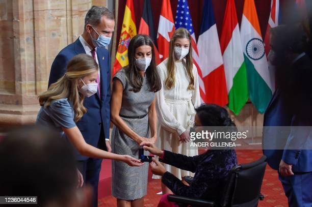 Spanish Crown Princess of Asturias Leonor, Spain's King Felipe VI, Spain's Queen Letizia and Spanish Princess Sofia greet Spanish swimmer and...