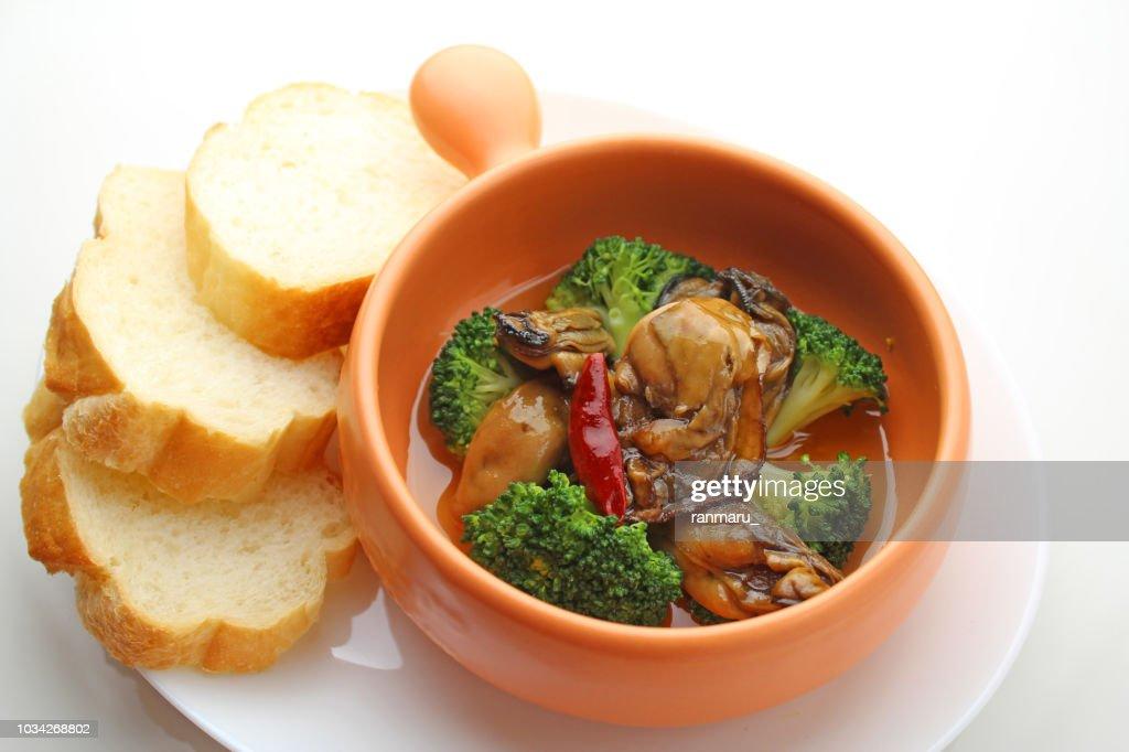 Spanish cuisine oyster ahijo : Stock Photo