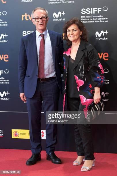 Spanish cultura minister Jose Guirao and Vicepresident Carmen Calvo attend the Donostia Award photocall during the 66th San Sebastian International...