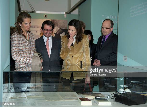 Spanish Culture minister Angeles Gonzalez Sinde and Princess Elena of Spain attend Los Mundos de Gonzalo Torrente Ballester Exhibition at the...