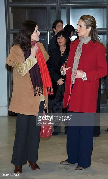 Spanish Culture minister Angeles Gonzalez Sinde and Princess Elena of Spain attend Los Mundos de Gonzalo Torrente Ballester Exhibition at the...