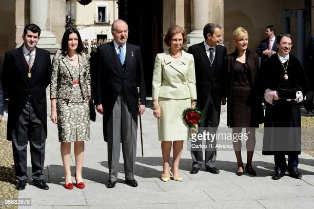 Spanish Culture Minister Angeles Gonzalez Sinde King Juan Carlos of Spain Queen Sofia of Spain President Jose Luis Rodriguez Zapatero and wife...