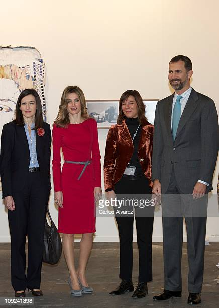 Spanish Culture Minister Angeles Gonzalez Sinde Princess Letizia of Spain and Prince Felipe of Spain attend the inauguration of ARCO fair 2011 at...