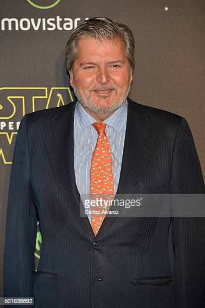 Spanish culture minister Inigo Mendez de Vigo attends the 'Star Wars The Force Awakens' premiere at the Callao cinema on December 16 2015 in Madrid...