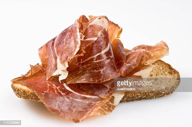 spanish cured ham canape (bocata de jamon) - serrano ham stock photos and pictures