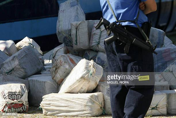 Spanish customs unload a shipment of cocaine that was intercepted on board the San Miguel at the port of Vigo northwestern Spain on June 5 2008 The...