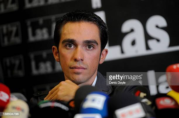 Spanish cyclist Alberto Contador gives a press conference a day after the court of arbitration for sport handed him a twoyear ban and stripped him of...
