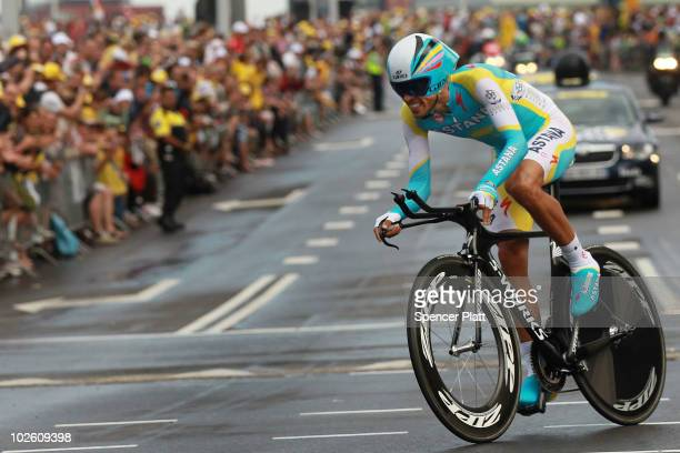 Spanish cyclist Alberto Contador of Team Astana races through an 8.9km time trial course during the prologue for the 97th Tour de France on July 3,...