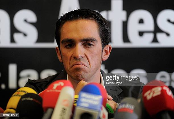 Spanish cyclist Alberto Contador speaks during a press conference a day after the court of arbitration for sport handed him a two-year ban and...