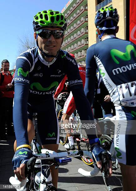 Spanish cyclist Alejandro Valverde of the Movistar team gets arrives at the start of the first stage of the Tour of Catalonia cycling race from...