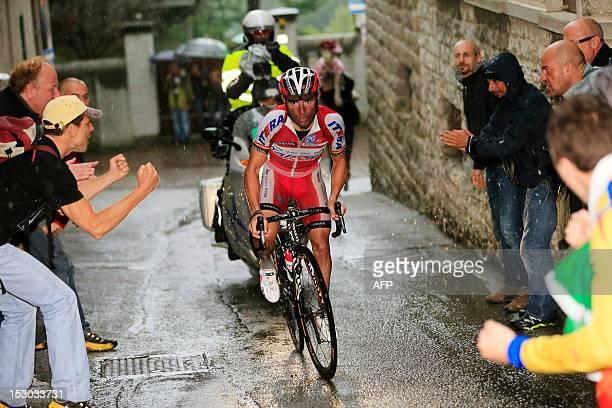 Spanish cyclist Joaquim Rodriguez of Team Katusha competes under heavy rain near Villa Vergano on September 29 during the 106th Giro di Lombardia a...