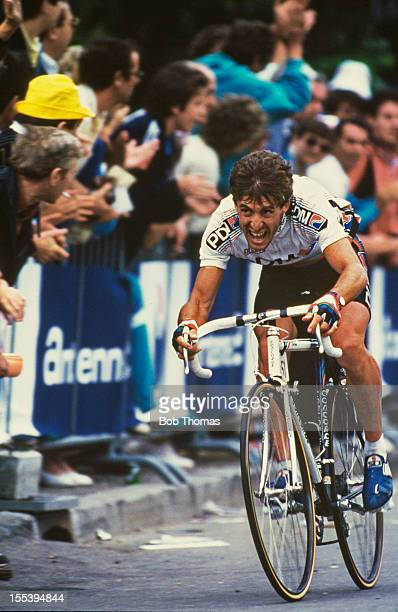 Spanish cyclist Pedro Delgado between Valreas and VillarddeLans in France during Stage 19 of the the Tour de France July 1987