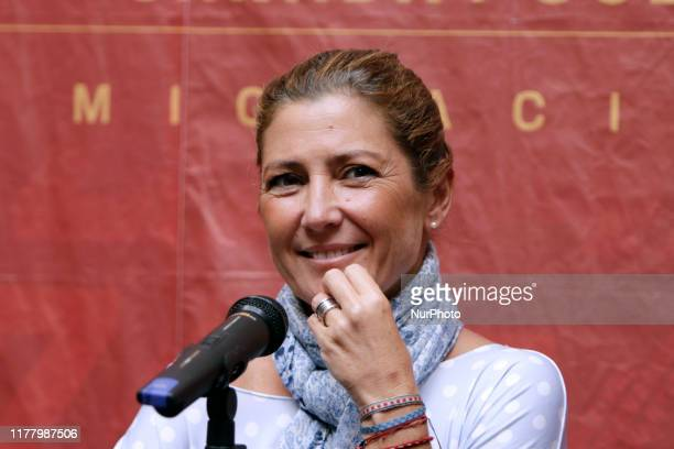 Spanish dancer and choreographer Sara Baras speaks during a press conference to announce her participation at 47th Cervantino International Festival...
