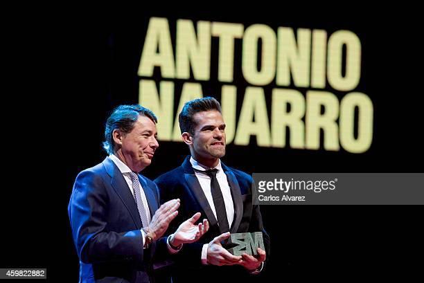 Spanish dancer Antonio Najarro receives the 'Danza' 2013 award from Madrid Regional President Ignacio Gonzalez at the Theater Canal on December 2...