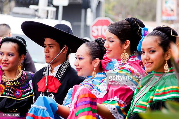 spanish dancers posing for the crowd - cinco de mayo stock pictures, royalty-free photos & images