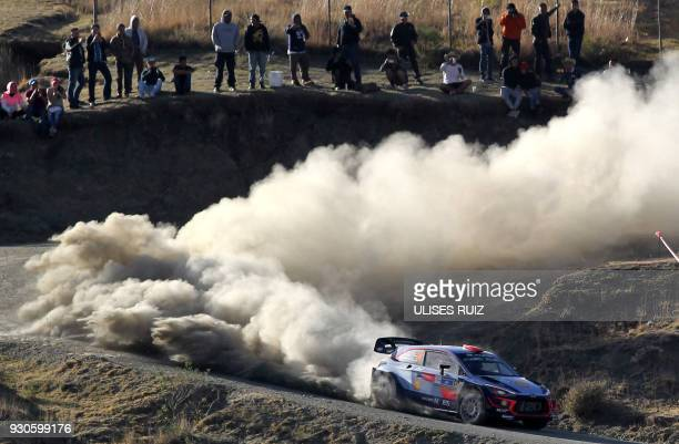 TOPSHOT Spanish Dani Sordo and codriver Carlos Del Barrio steer their Hyundai i20 Coupe WRC during the final day of the 2018 FIA World Rally...